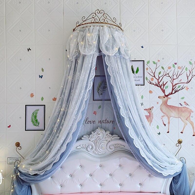 Ciel de Lit Princesse avec Couronne | Voile Bleu Sombre