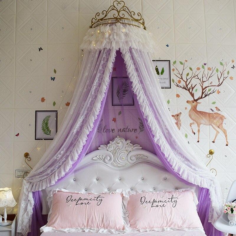 Ciel de Lit Princesse avec Couronne | Voile Violet