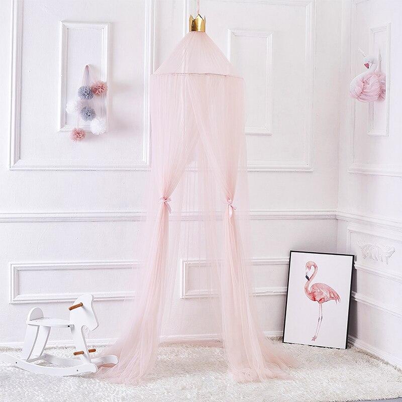 Ciel de Lit Bébé | Rose Tissu Léger avec Couronne