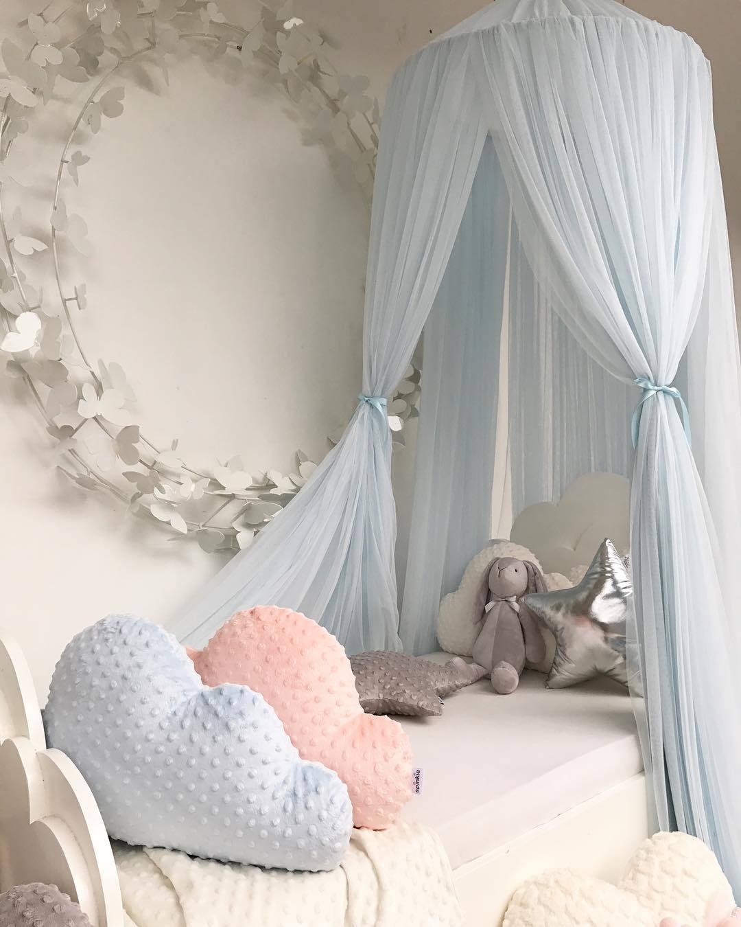 Ciel de Lit Bébé | Bleu Pastel Tissu Léger