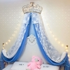 Ciel de Lit Princesse avec Couronne | Voile Bleu Océan