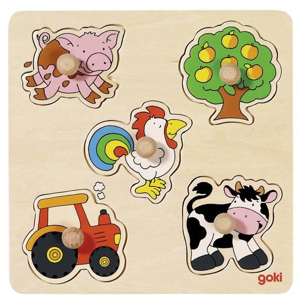 Houten puzzel Op de boerderij GOKI
