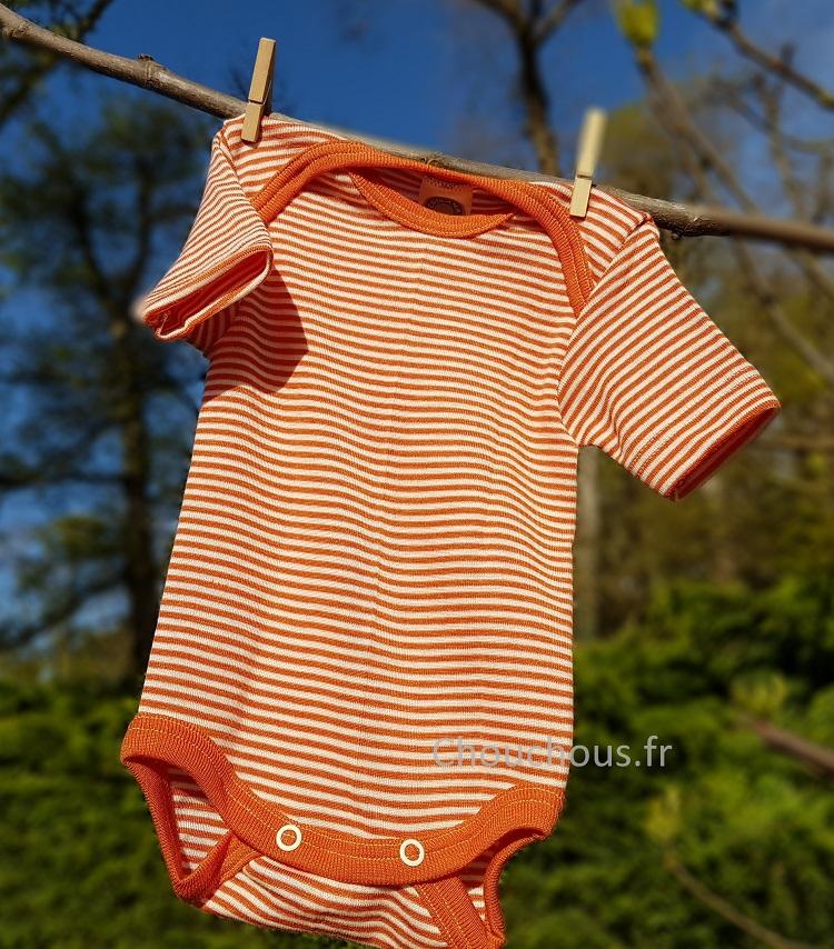 Cosilana Body manches courtes Orange rayé - Laine/soie