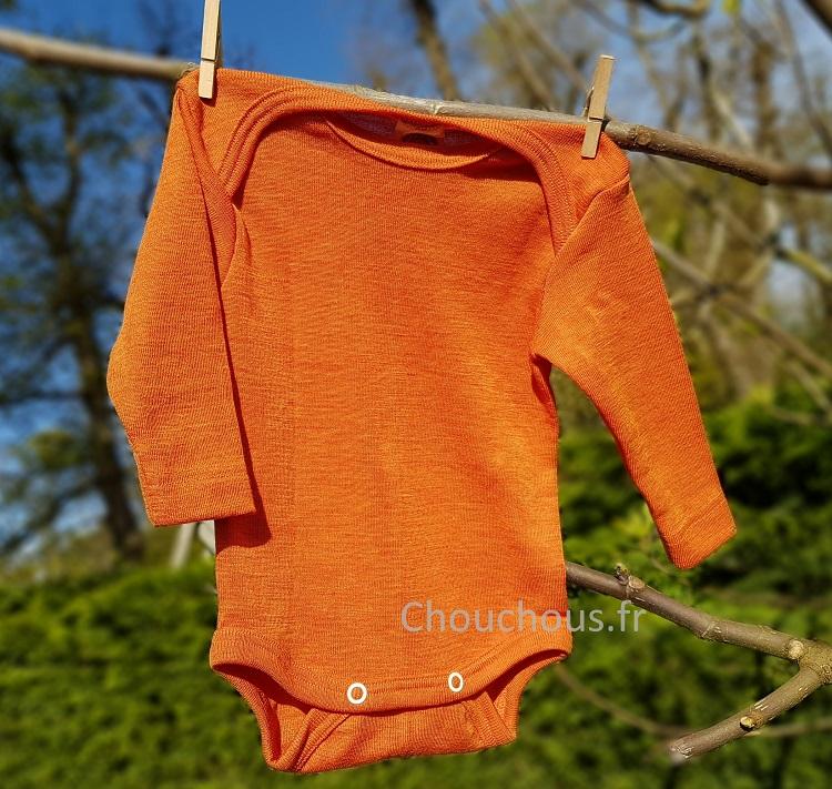 Cosilana Body manches longues Orange - Laine/soie