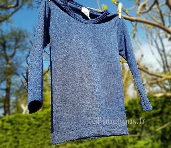 Cosilana T-shirt lange mouwen wol/zijde blauw