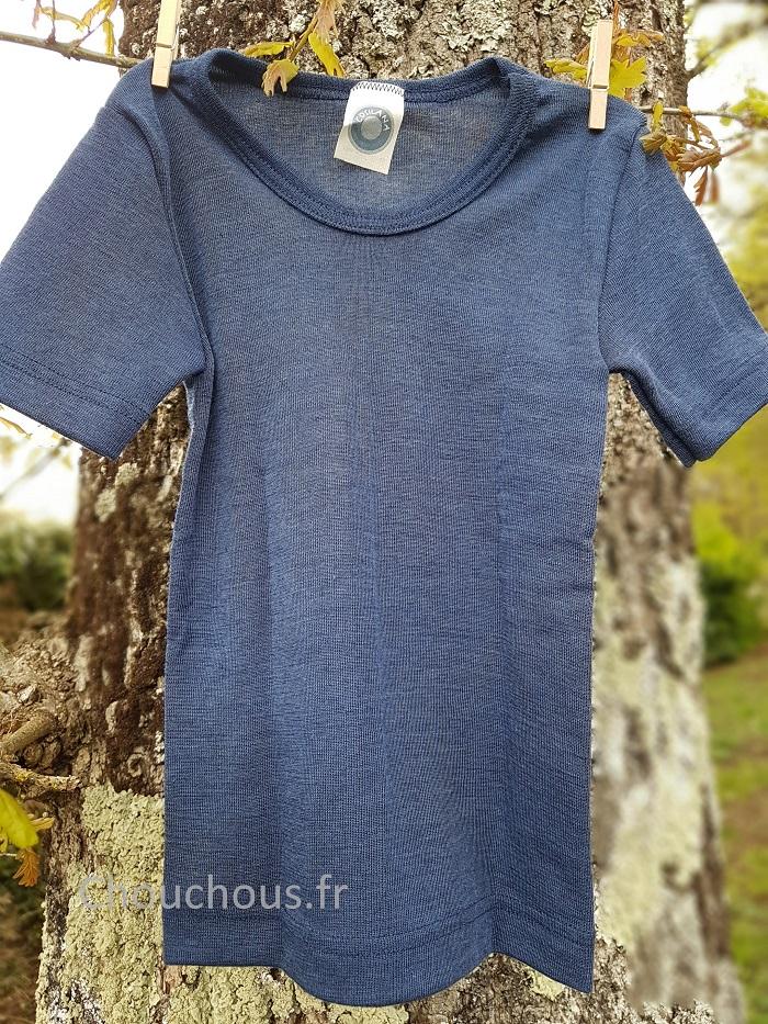 Cosilana T-shirt korte mouwen wol/zijde blauw