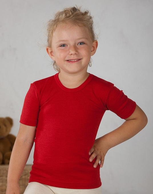 Cosilana T-shirt korte mouwen wol/zijde rood