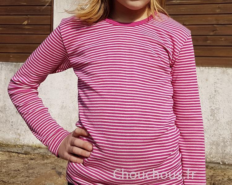 Cosilana T-shirt lange mouwen wol/zijde roze gestreept