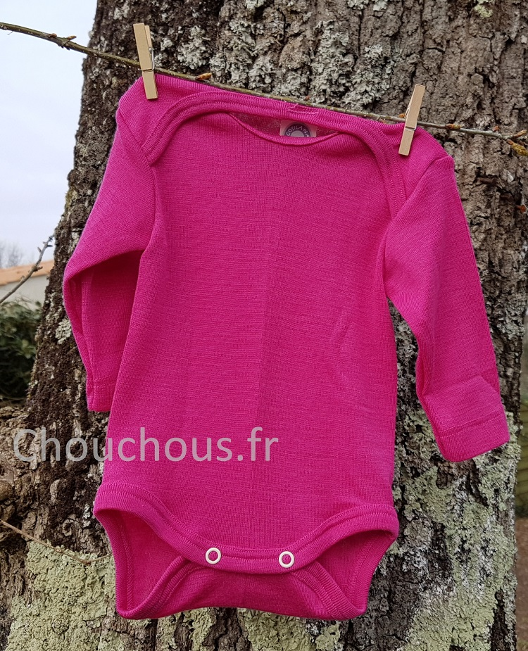 Cosilana Body manches longues rose - laine/soie