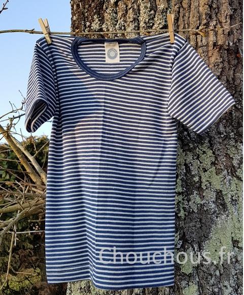 Cosilana T-shirt korte mouwen wol/zijde blauw gestreept