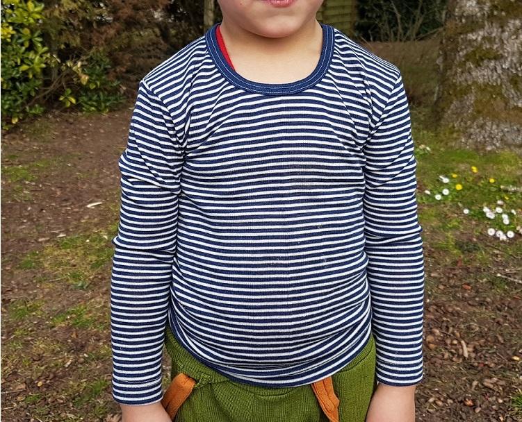 Cosilana T-shirt manches longues Enfant Bleu rayé - Laine/soie