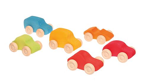 6 Gekleurde houten autootjes GRIMM\'s