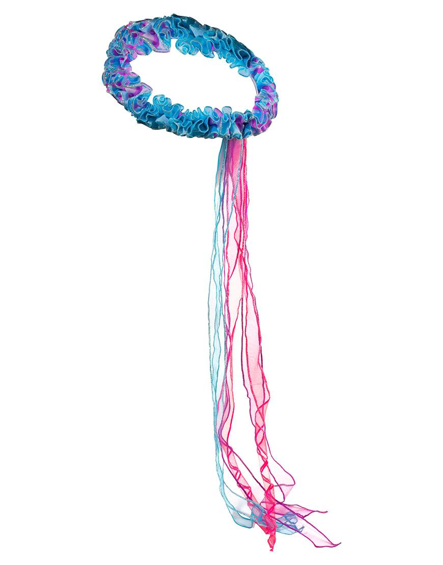 Elastische Hoofdwrap Fee blauw-regenboog Dreamy Dress-Ups
