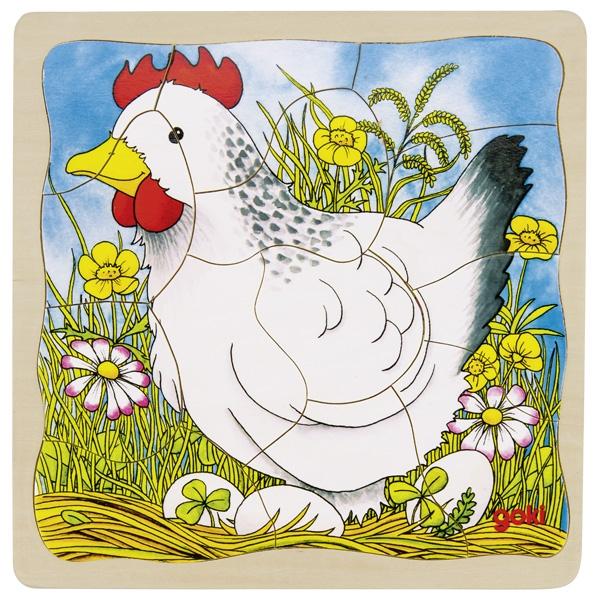 Laagjes puzzel van ei naar kip GOKI