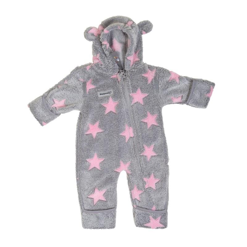 Hoppediz Fleece Overall Grijs met Roze sterren en beren oortjes