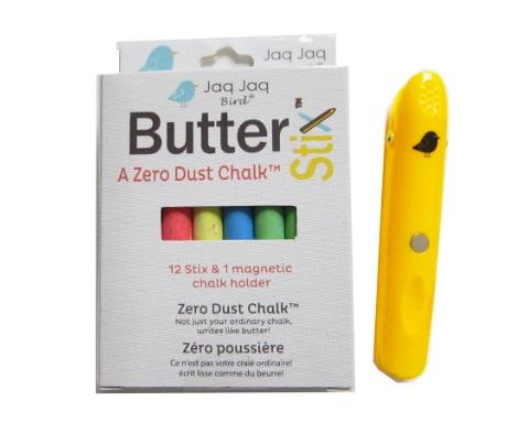 Doosje met 12 gekleurde Butterstix Krijtjes + 1 krijthouder Jaq Jaq Bird