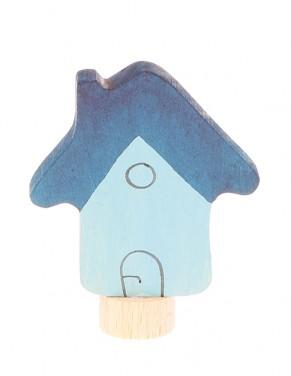 Houten steker Blauwe huis GRIMM\'s