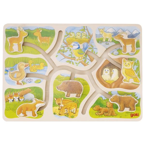 Puzzle à pousser, où est mon petit? GOKI