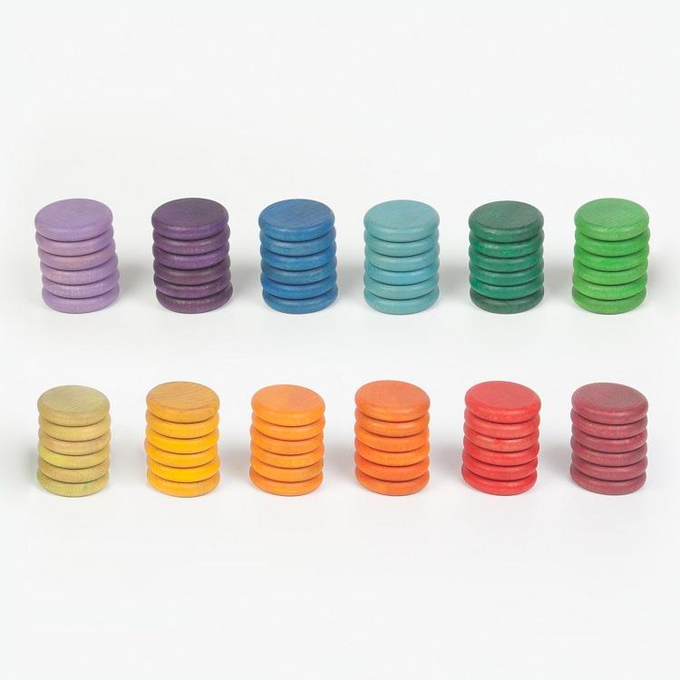 72 Gekleurde munten van hout Grapat
