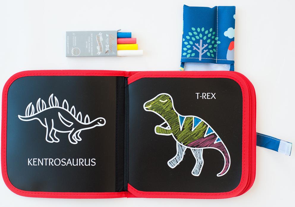 Jaq Jaq Bird Herbruikbaar Krijtboek Dino kleurplaten – 8 pagina's + 4 krijtjes