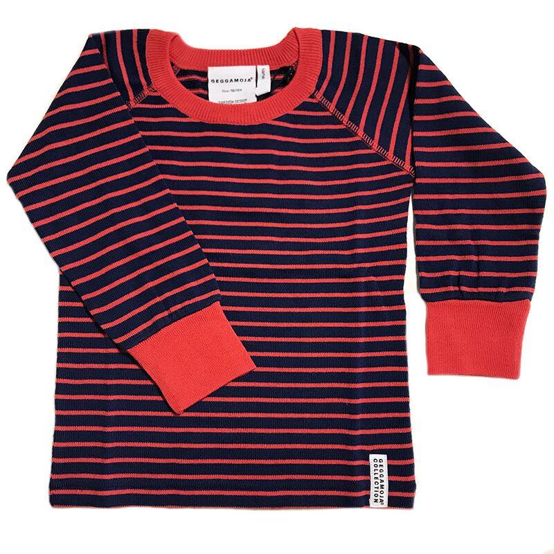 T-shirt lange mouwen Marine/Rood gestreept Geggamoja