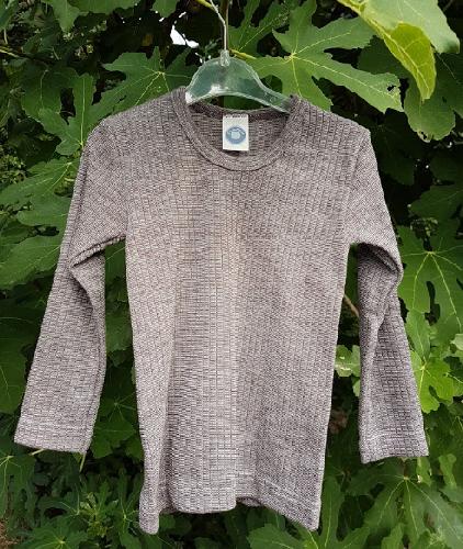 Cosilana T-shirt lange mouwen Kind Bruin chiné – wol/zijde/bio katoen