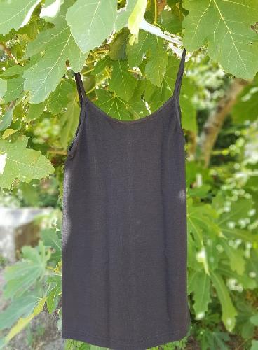 Cosilana Débardeur femme Laine/Soie - fines bretelles - Noir