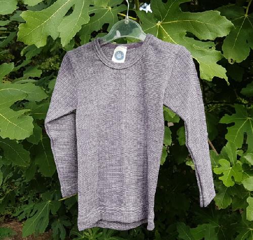 Cosilana T-shirt manches longues Enfant prune chiné - Laine/soie/coton bio