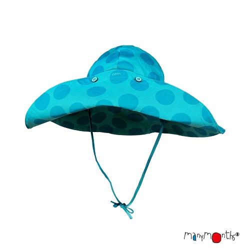 Chapeau d\'été à bord large ManyMonths Big Dots Turquoise