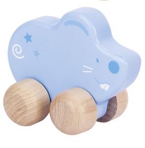 Klein houten muisje met wieltjes GOKI