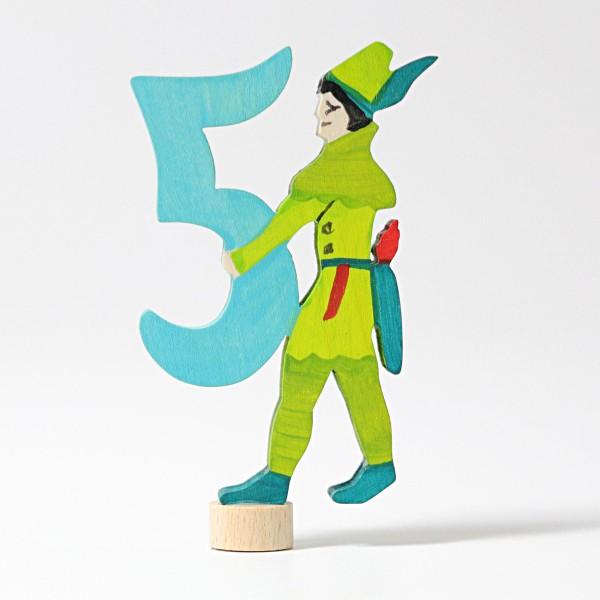 Houten Steker Robin hood Cijfer 5 - Grimm\'s