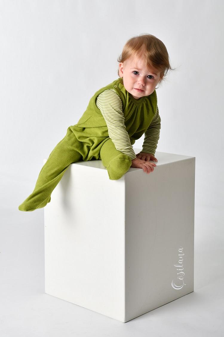 Grenouillère avec pieds en laine Vert - Cosilana