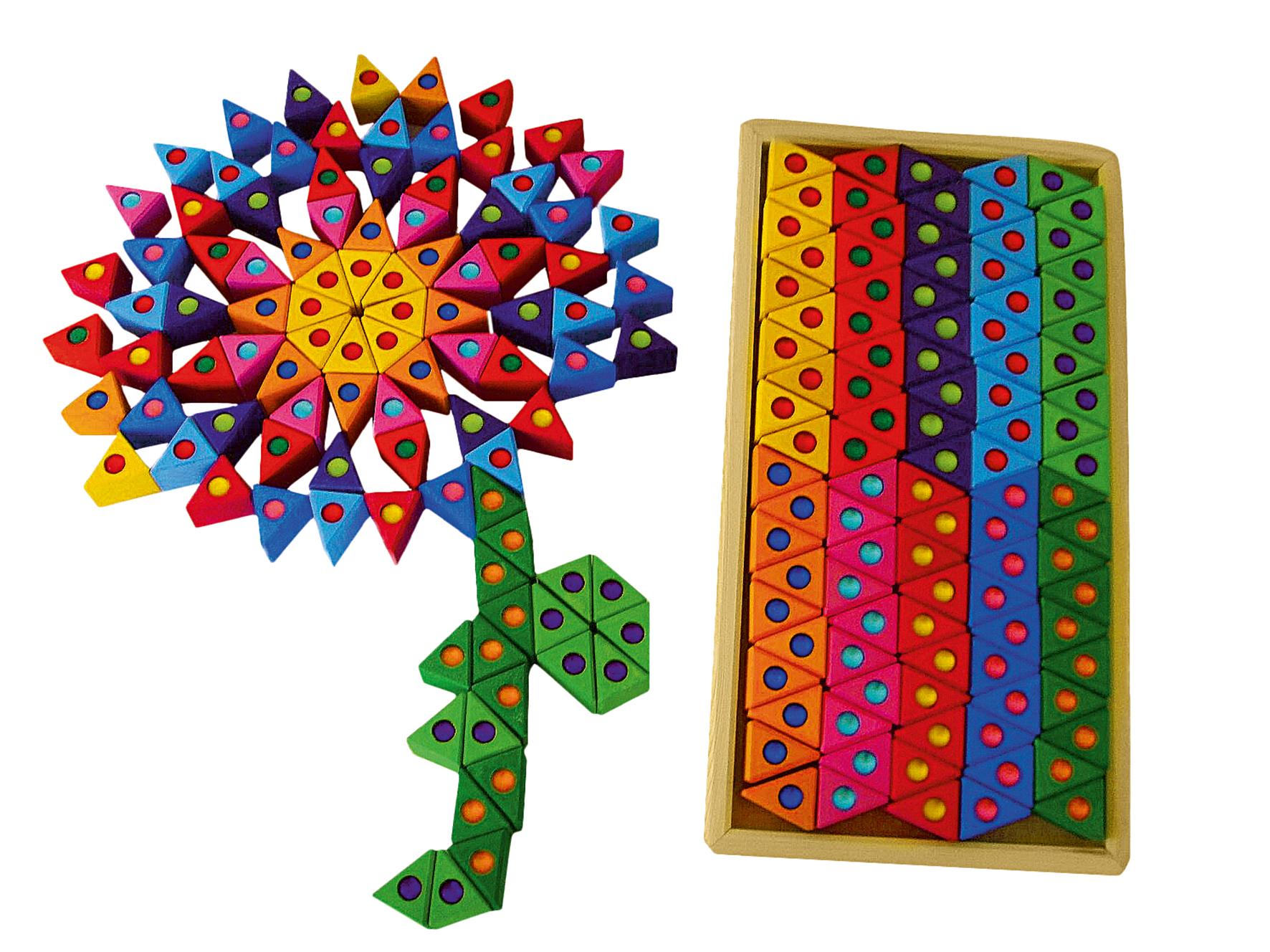 Triangles en bois colorés avec pierres brillantes 100 pièces