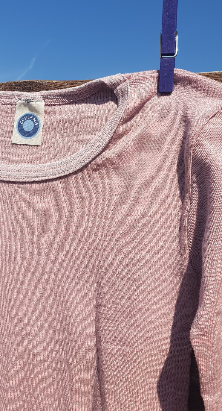 Cosilana T-shirt lange mouwen Kind wol/zijde roze/lila