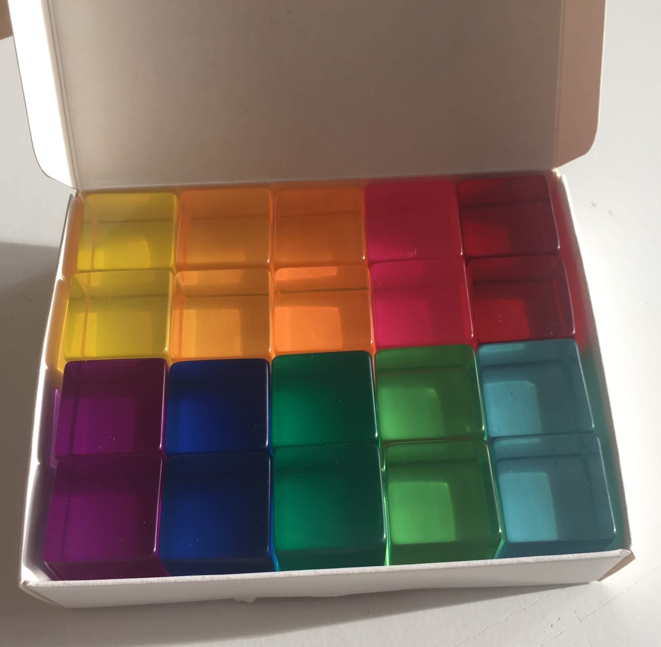 20 gekleurde lichtdoorlatende blokken Bauspiel