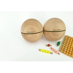 2 grandes boules sonores perles Montessori fond blanc