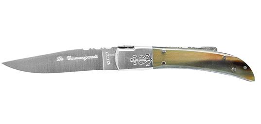 Camarguais N°10 Trident soudé - Lame 90 mm - Manche corne brune