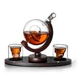 Cr-ne-whisky-Carafe-ensemble-avec-2-verres-liqueur-cristal-liqueur-Carafe-Globe-vin-Carafe-cr