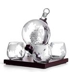 Carafe-whisky-ensemble-Vodka-Globe-carafe-avec-4-verres-distributeur-d-alcool-avec-support-en-bois