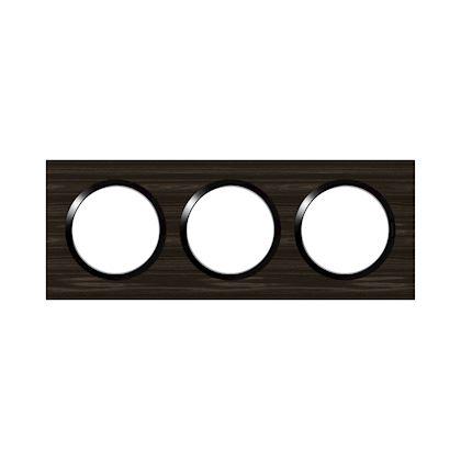 LEGRAND Plaque carrée dooxie 3 postes finition effet bois ébène 600883