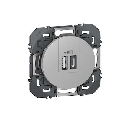 LEGRAND Double chargeur USB 1 Type-A + 1 Type-C dooxie 3A finition alu 600449