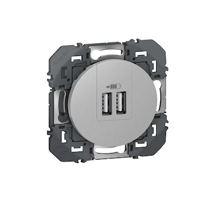 LEGRAND Double chargeur USB Type-A dooxie 3A finition alu 600443