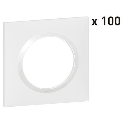 LEGRAND Lot de 100 plaques carrées dooxie 1 poste finition blanc 600941
