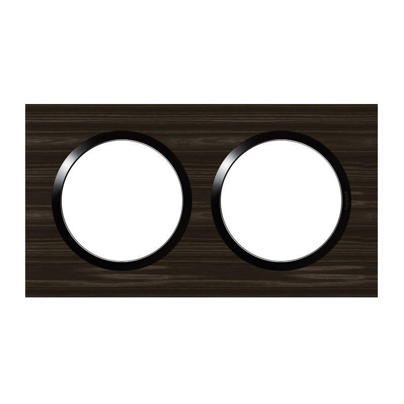 LEGRAND Plaque carrée dooxie 2 postes finition effet bois ébène 600882