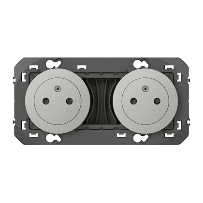 LEGRAND Double prise de courant 2P+T Surface dooxie 16A précâblées finition alu 600432