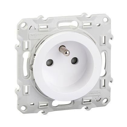 SCHNEIDER ELECTRIC Odace prise de courant 2P+T blanc, à vis, 2 connexions rapides par pôle S520059