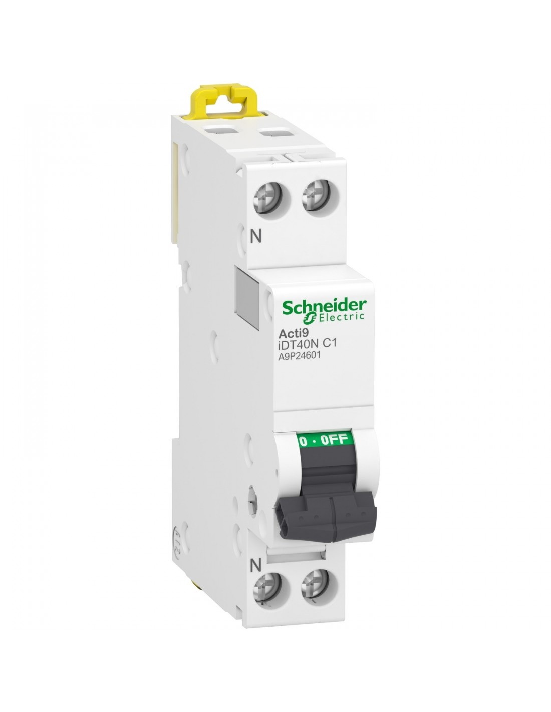 Schneider Acti9 iDT40N - disjoncteur modulaire - 1P+N C 10A 6000A/10kA A9P24610