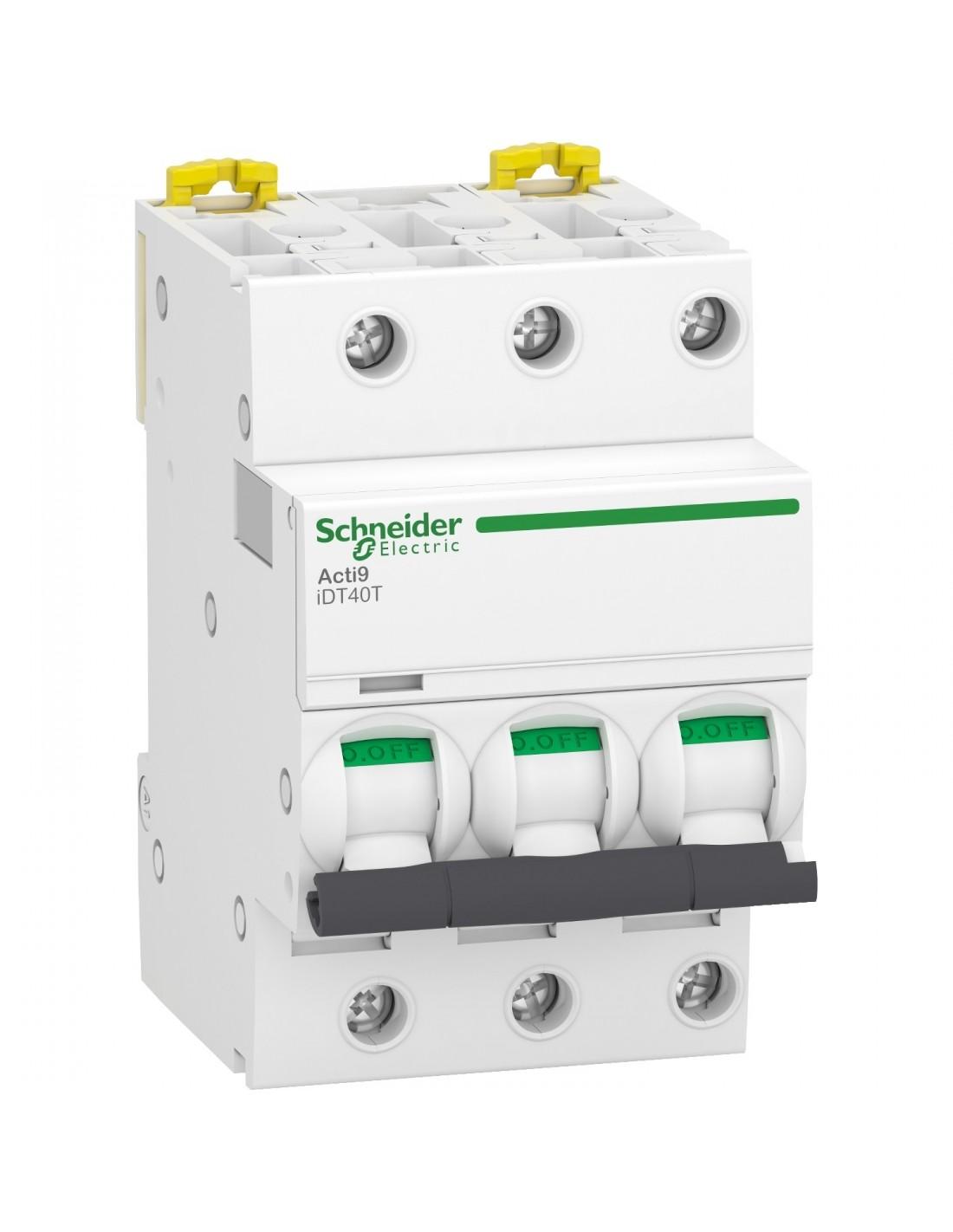 Schneider Acti9 iDT40T - disjoncteur modulaire - 3P - 16A - courbe C - 4500A/6kA A9P22316