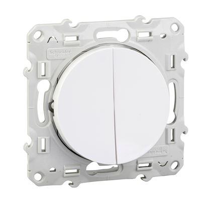 SCHNEIDER ELECTRIC Odace, double va-et-vient Blanc, connexion rapide, à vis S520214