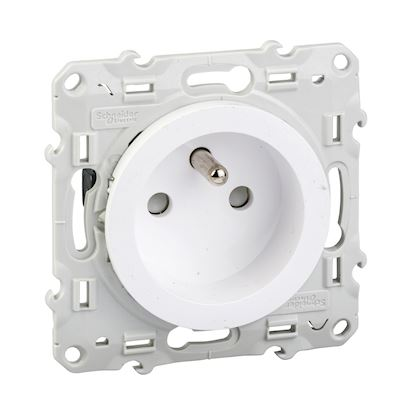 SCHNEIDER ELECTRIC Odace prise de courant 2P+T blanc, à vis, 4 connexions rapides par pôle S520049